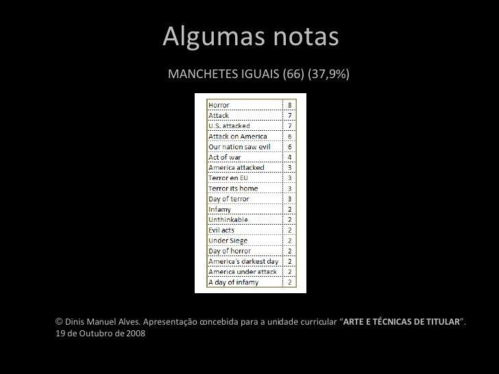 """Algumas notas MANCHETES IGUAIS (66) (37,9%) ©  Dinis Manuel Alves. Apresentação concebida para a unidade curricular """" ARTE..."""