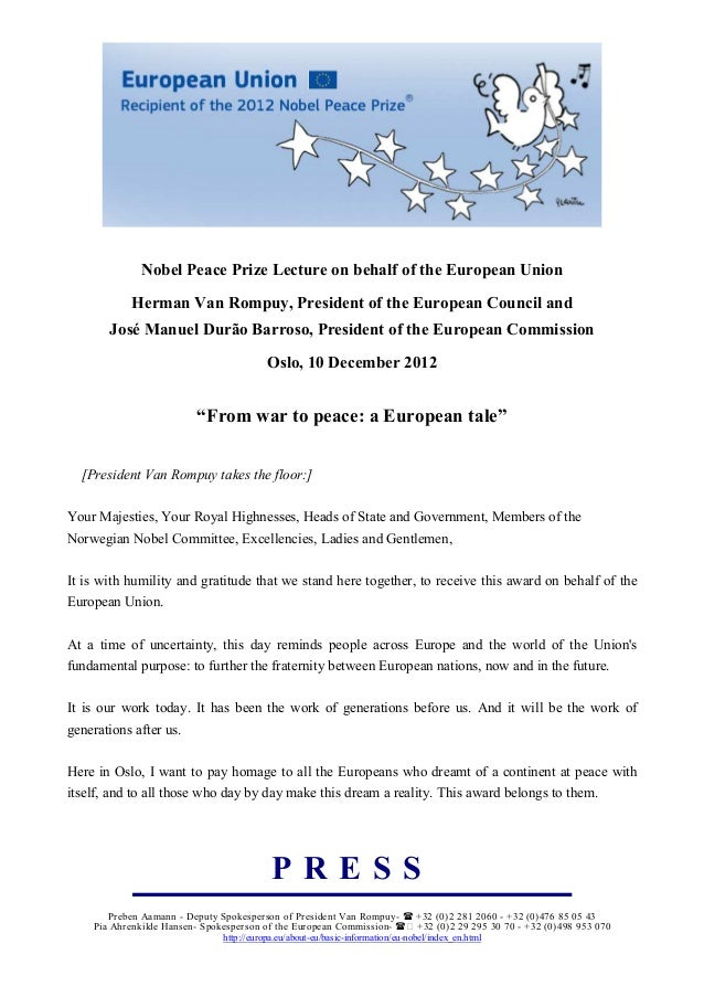 obel Peace Prize Lecture on behalf of the European Union            Herman Van Rompuy, President of the European Council a...
