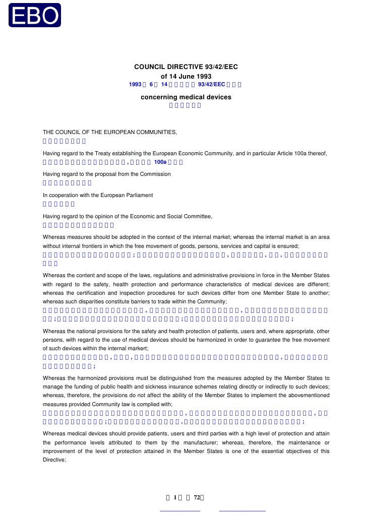 COUNCIL DIRECTIVE 93/42/EEC                                            of 14 June 1993                                   1...