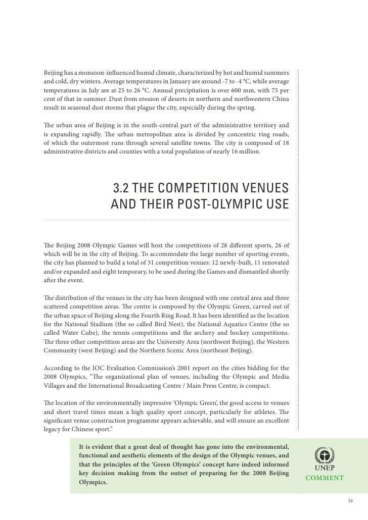 Beijing 2008 Olympic Games An Environmental Review