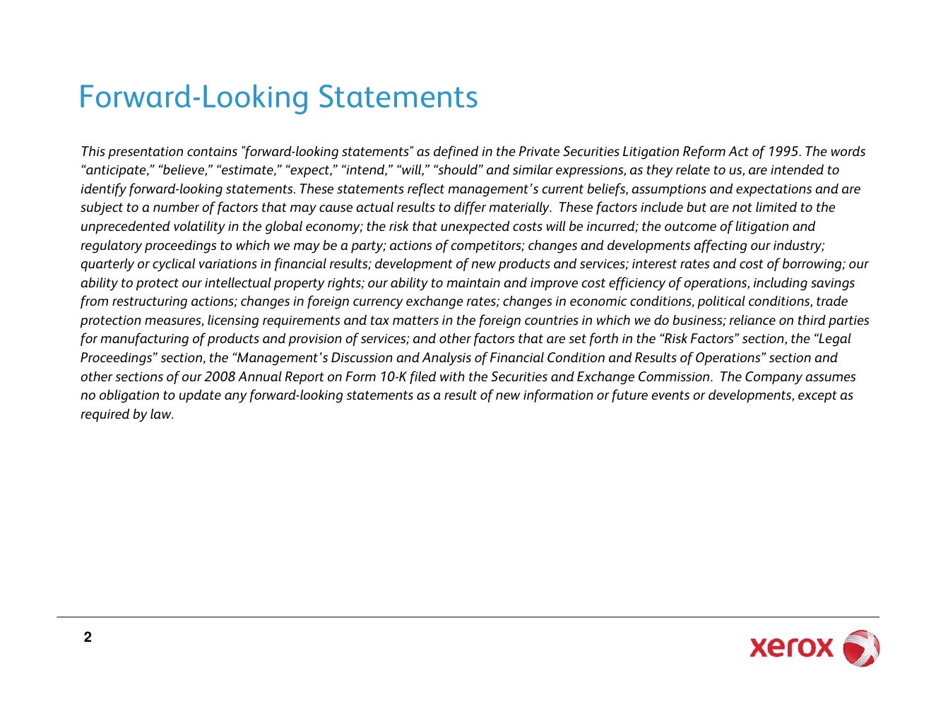 Forward‐Looking Statements • This presentation contains