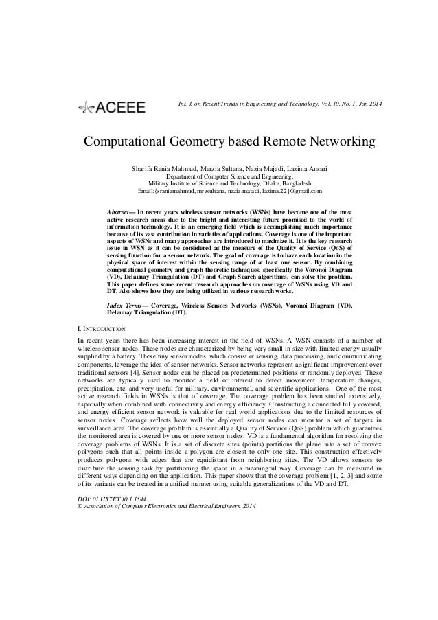 Int. J. on Recent Trends in Engineering and Technology, Vol. 10, No. 1, Jan 2014  Computational Geometry based Remote Netw...