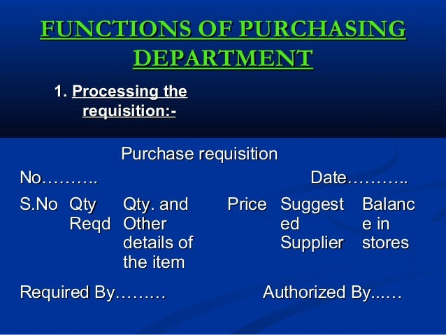 functions of purchasing management
