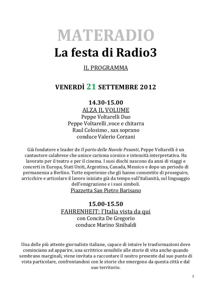 MATERADIO                 La festa di Radio3                                 IL PROGRAMMA                  VENERDÌ 21 SETT...