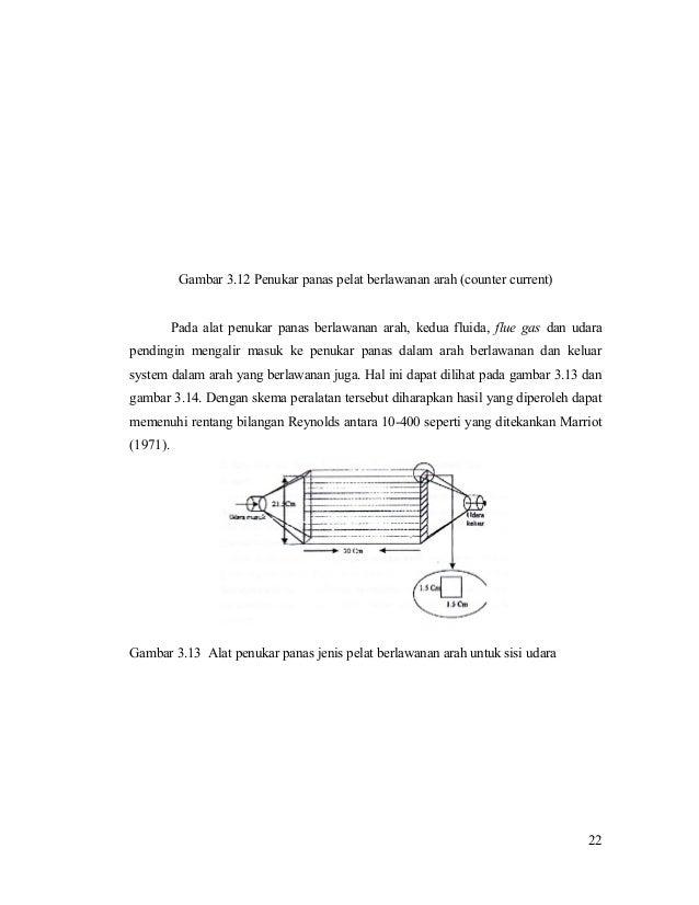 Gambar 3.12 Penukar panas pelat berlawanan arah (counter current) Pada alat penukar panas berlawanan arah, kedua fluida, f...