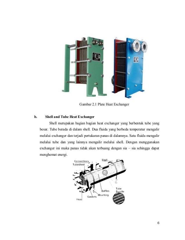Gambar 2.1 Plate Heat Exchanger b. Shell and Tube Heat Exchanger Shell merupakan bagian bagian heat exchanger yang berbent...