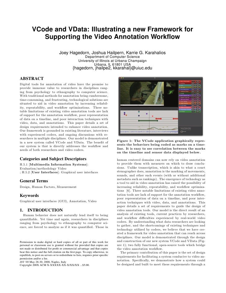 VCode and VData: Illustrating a new Framework for               Supporting the Video Annotation Workflow                   ...