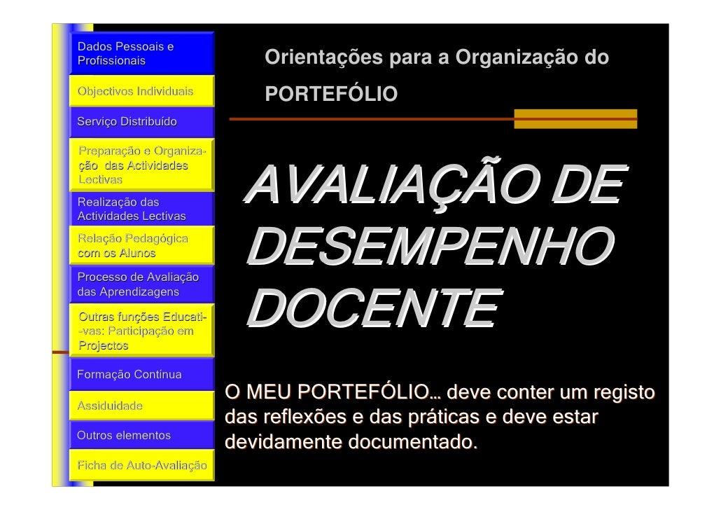 Dados Pessoais eProfissionais                  Orientações para a Organização doObjectivos Individuais         PORTEFÓLIOS...