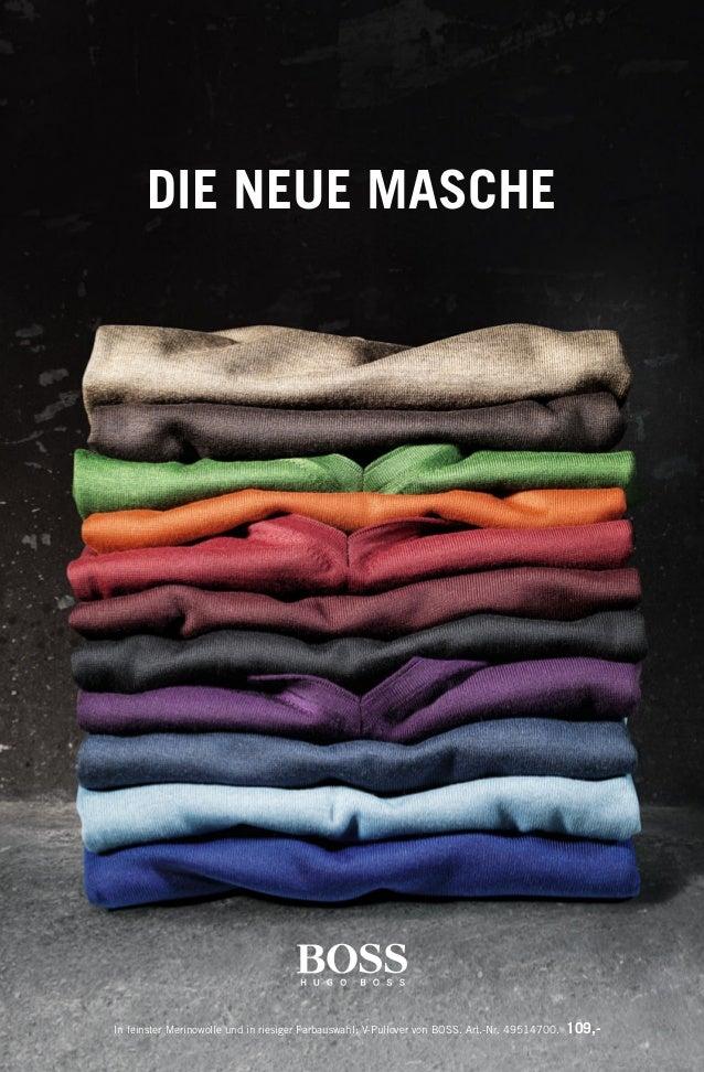 DIE NEUE MASCHE In feinster Merinowolle und in riesiger Farbauswahl: V-Pullover von BOSS. Art.-Nr. 49514700. 109,- 134990_...