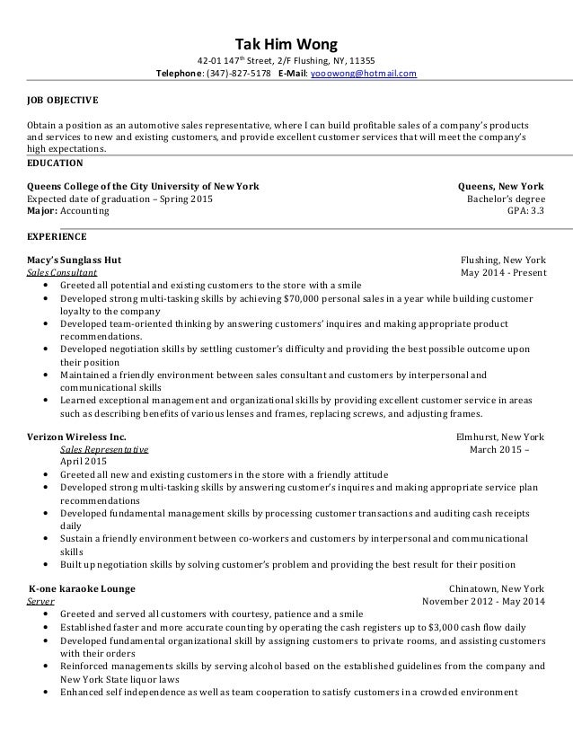 Tak'S Sales Representative Resume
