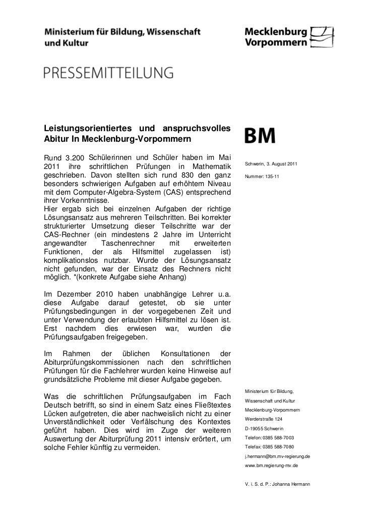Leistungsorientiertes und anspruchsvollesAbitur In Mecklenburg-VorpommernRund 3.200 Schülerinnen und Schüler haben im Mai ...