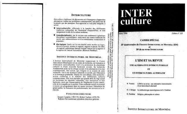 135 l'iim et sa revue. une alternative interculturelle et un interculturel alternatif. (document à télécharger en forma...