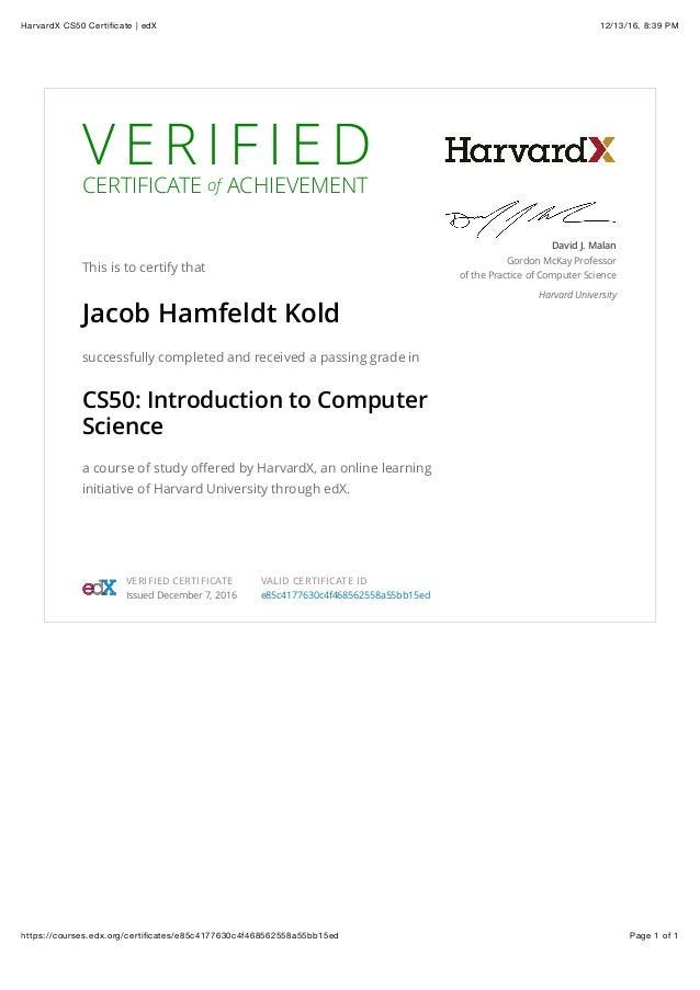 Harvardx Cs50 Certificate Edx