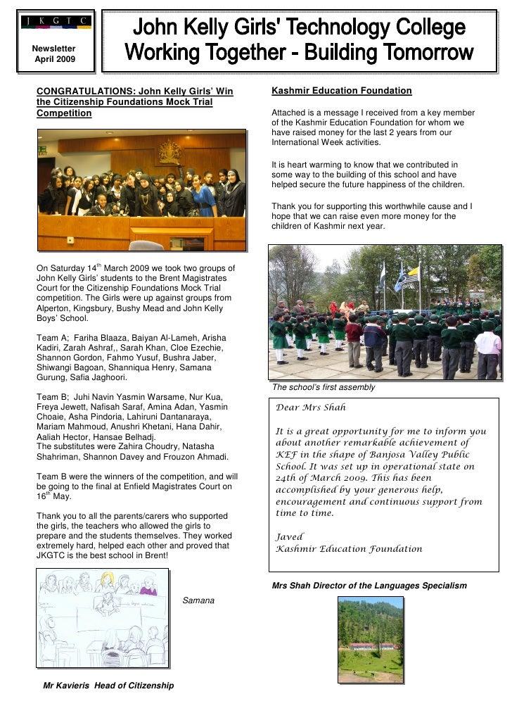 Newsletter April 2009                                                            Kashmir Education Foundation  CONGRATULAT...