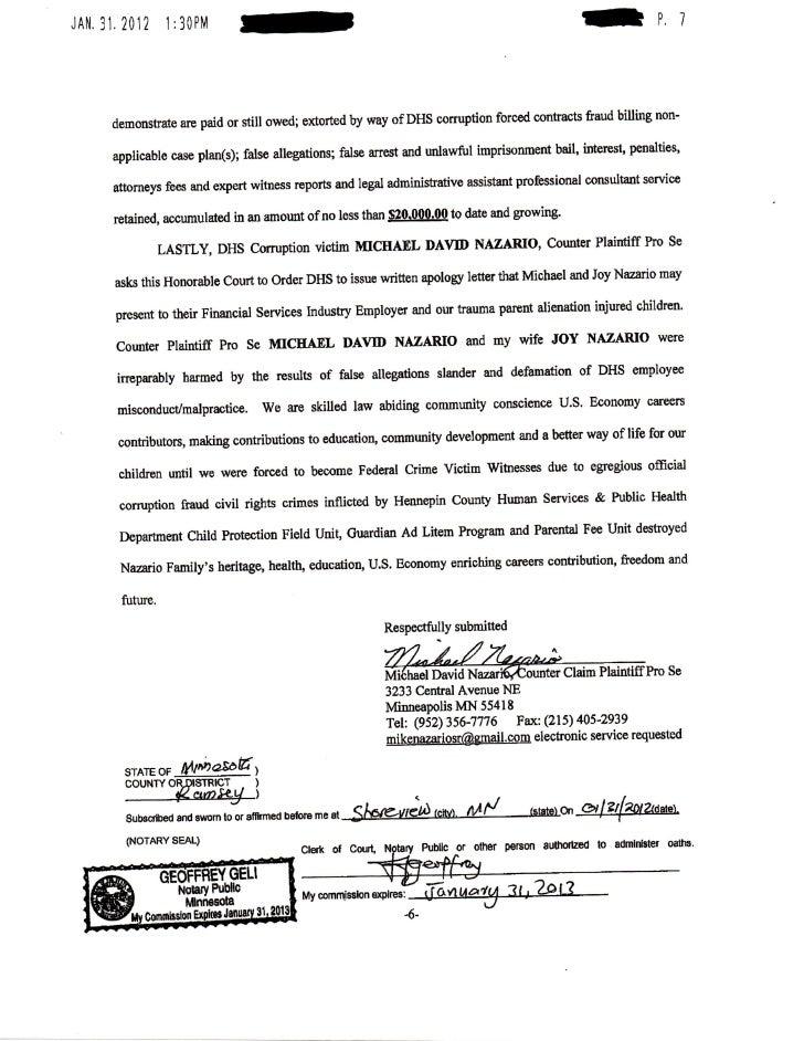 Roxanne Grinage Legal Assistant to Michael Nazario Minnesota pro se p…
