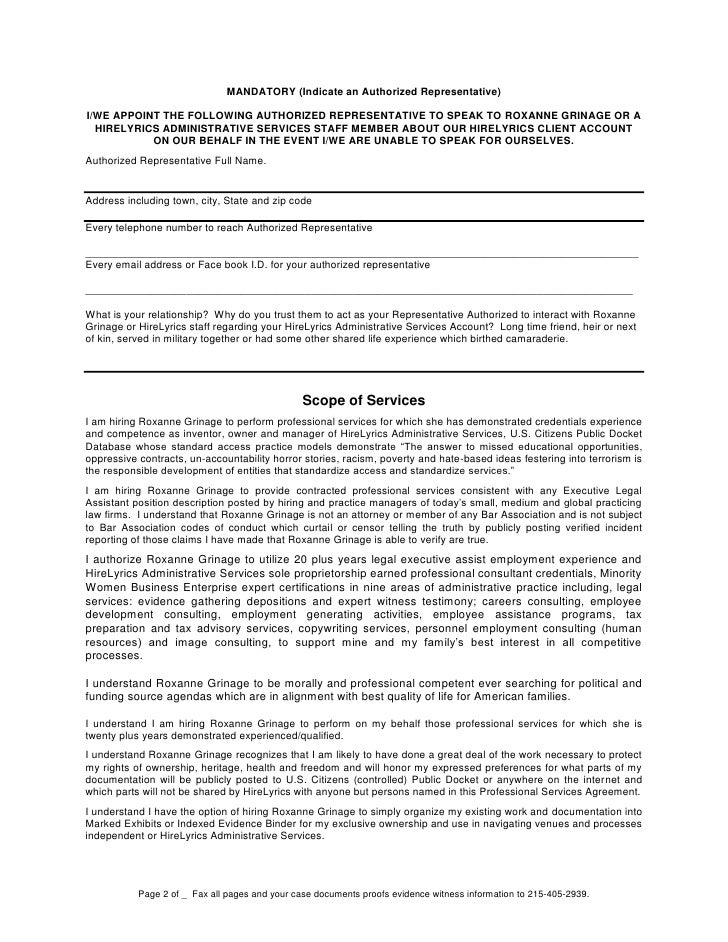 Professional Services Agreement Mandatory Signed At Notary  Pages R