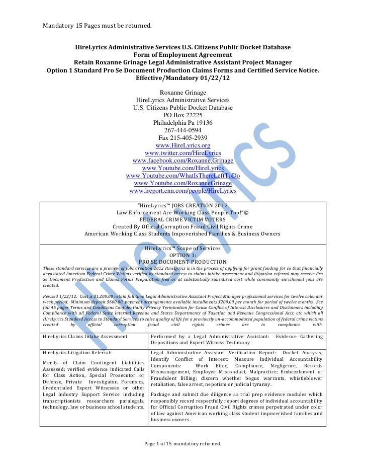 012212 Retain Roxanne Grinage Legal Administrative Assistant HireLyri…