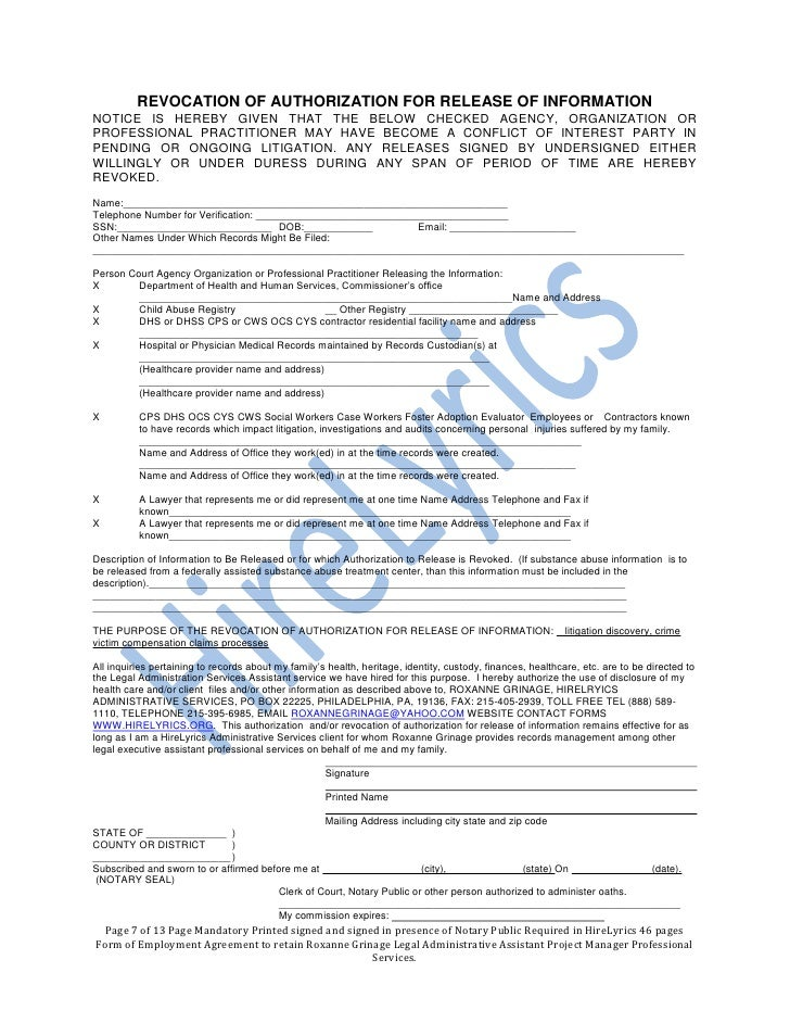 Hirelyrics Form Of Employment Agreement  Pages Required