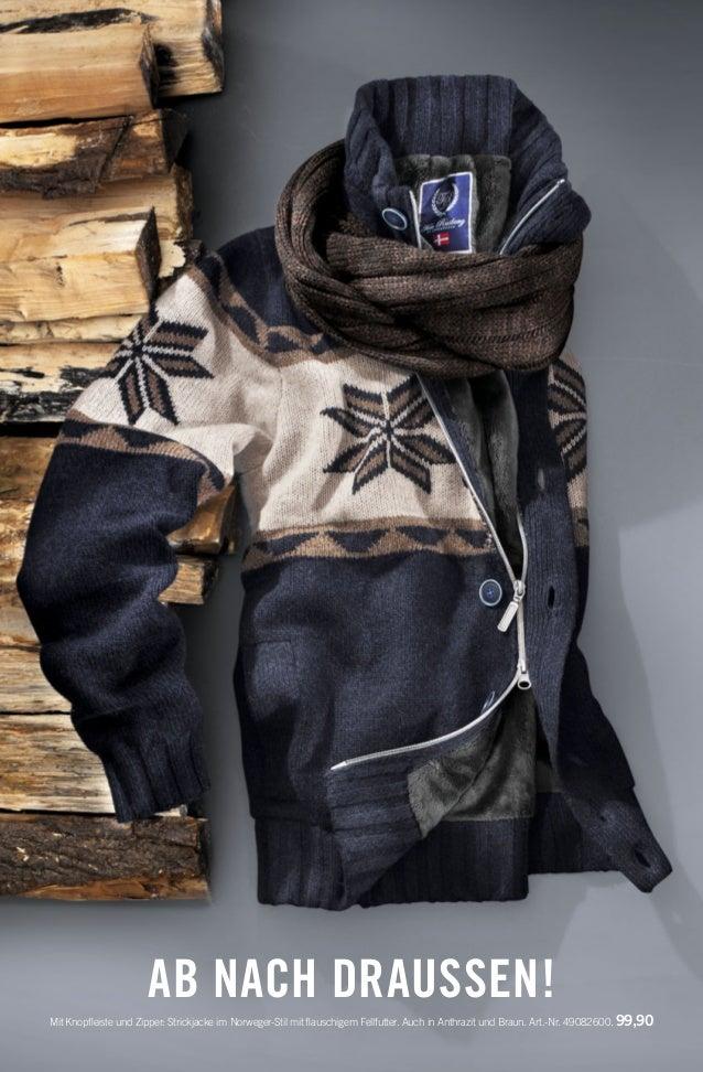AB NACH DRAUSSEN! Mit Knopfleiste und Zipper: Strickjacke im Norweger-Stil mit flauschigem Fellfutter. Auch in Anthrazit und...