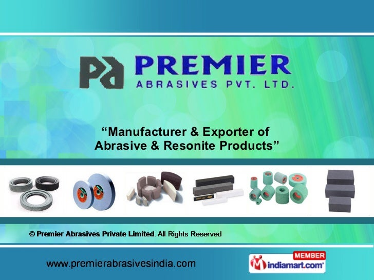 """"""" Manufacturer & Exporter of  Abrasive & Resonite Products"""""""