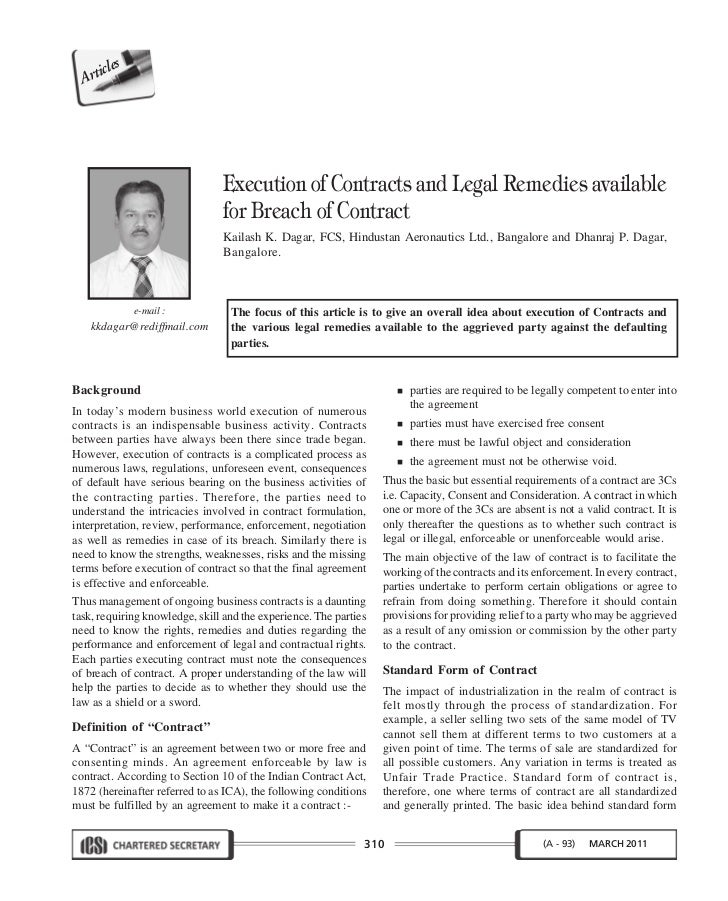 Execution Of Contracts And Legal Remedies Available For Breach