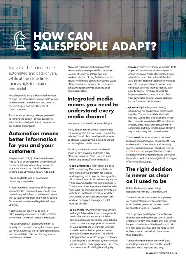 So, sales is becoming more automated and data-driven, while at the same time, increasingly integrated and social. For sale...