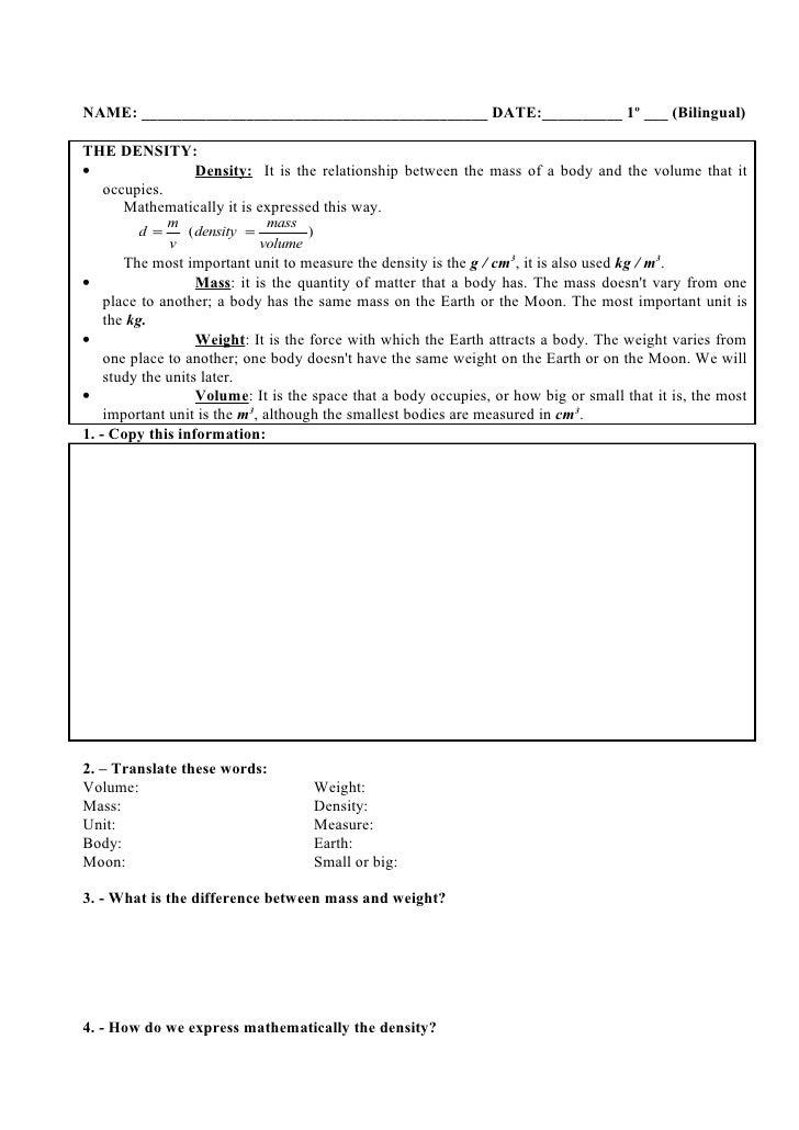 UNIT 03 THE MATTER OF THE UNIVERSE Worksheet – Mass Volume Density Worksheet
