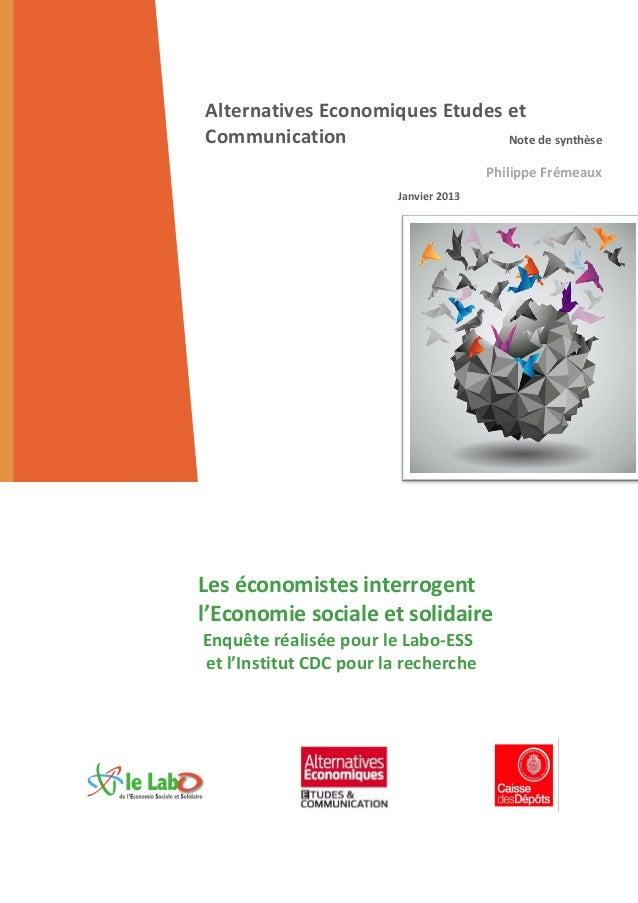 Alternatives Economiques Etudes etCommunication                   Note de synthèse                                        ...