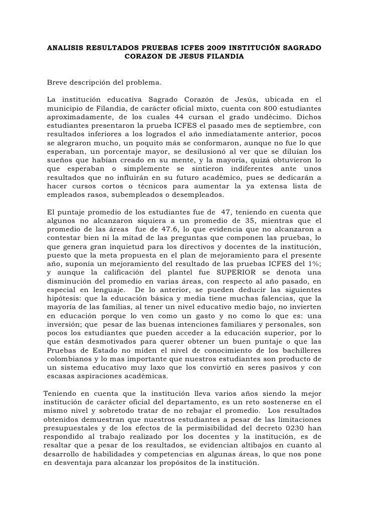 ANALISIS RESULTADOS PRUEBAS ICFES 2009 INSTITUCIÓN SAGRADO                  CORAZON DE JESUS FILANDIA   Breve descripción ...