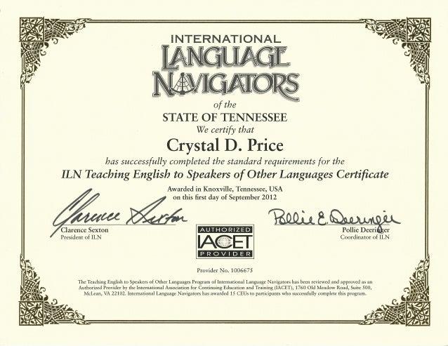 certificate tesol crystal gatlin
