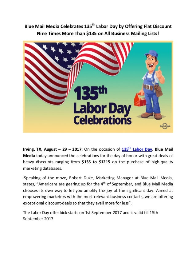Blue Mail Media Announces Great Offer On 135th Labor Day
