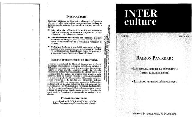 136 les fondements de la démocratie. la découverte du métapolitique. r. panikkar. (document à télécharger en format ...
