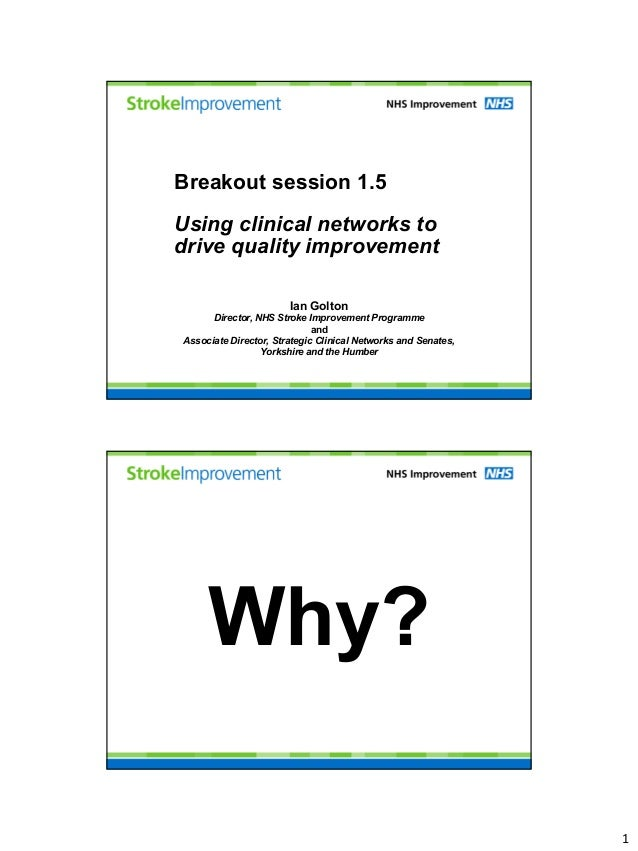 Breakout session 1.5Using clinical networks todrive quality improvement                       Ian Golton      Director, NH...