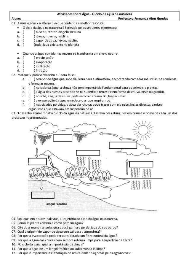 Atividades sobre Água - O ciclo da água na natureza Aluno: _______________________________________________________ Profess...