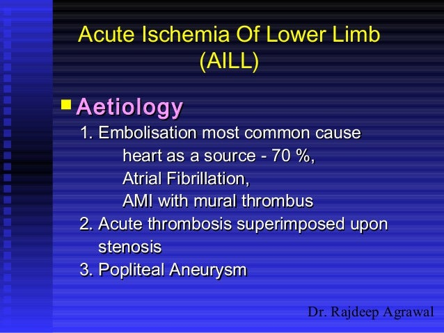 Dr. Rajdeep Agrawal Acute Ischemia Of Lower Limb (AILL)  AetiologyAetiology 1. Embolisation most common cause1. Embolisat...