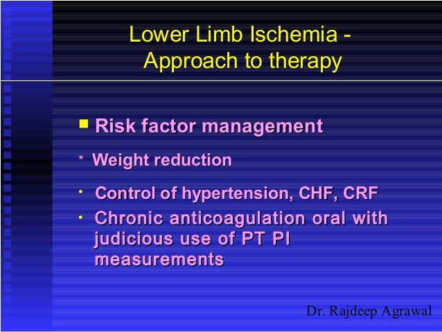 Dr. Rajdeep Agrawal Lower Limb Ischemia - Approach to therapy  Risk factor managementRisk factor management ** Weight red...