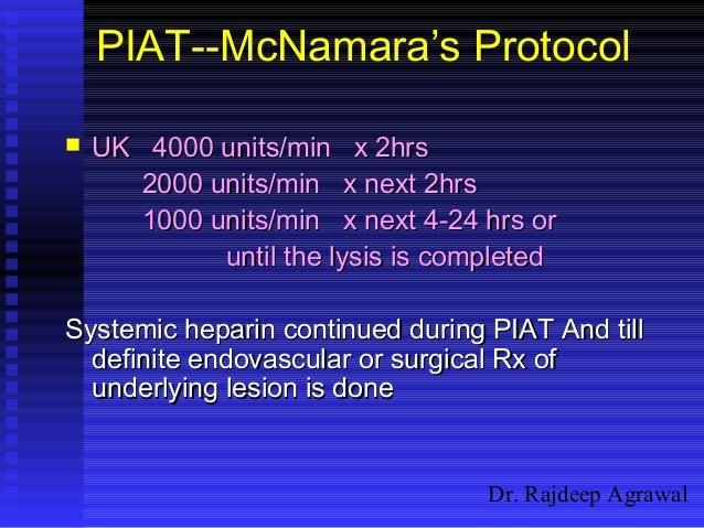 Dr. Rajdeep Agrawal PIAT--McNamara's Protocol  UK 4000 units/min x 2hrsUK 4000 units/min x 2hrs 2000 units/min x next 2hr...