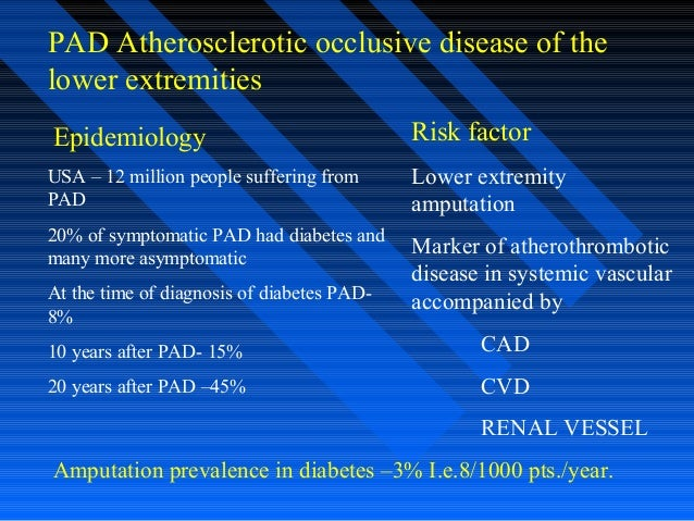 PAD Atherosclerotic occlusive disease of the lower extremities Epidemiology USA – 12 million people suffering from PAD 20%...