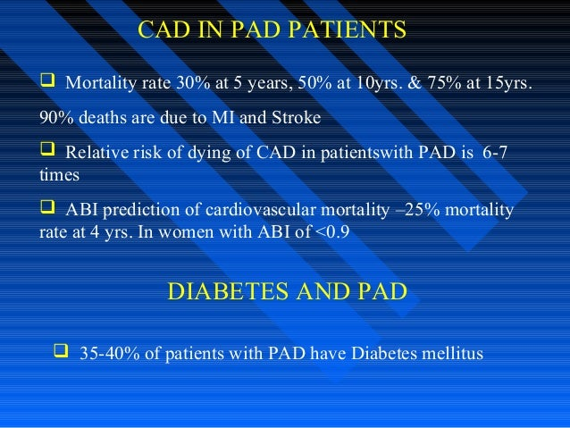 CAD IN PAD PATIENTS  Mortality rate 30% at 5 years, 50% at 10yrs. & 75% at 15yrs. 90% deaths are due to MI and Stroke  R...