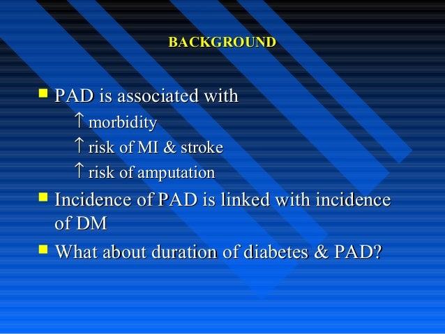 BACKGROUNDBACKGROUND  PAD is associated withPAD is associated with ↑↑ morbiditymorbidity ↑↑ risk of MI & strokerisk of MI...