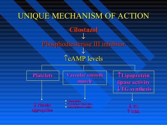 UNIQUE MECHANISM OF ACTIONUNIQUE MECHANISM OF ACTION CilostazolCilostazol ↓↓ Phosphodiesterase III inhibitorPhosphodiester...