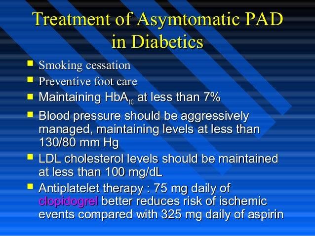 Treatment of Asymtomatic PADTreatment of Asymtomatic PAD in Diabeticsin Diabetics  Smoking cessationSmoking cessation  P...