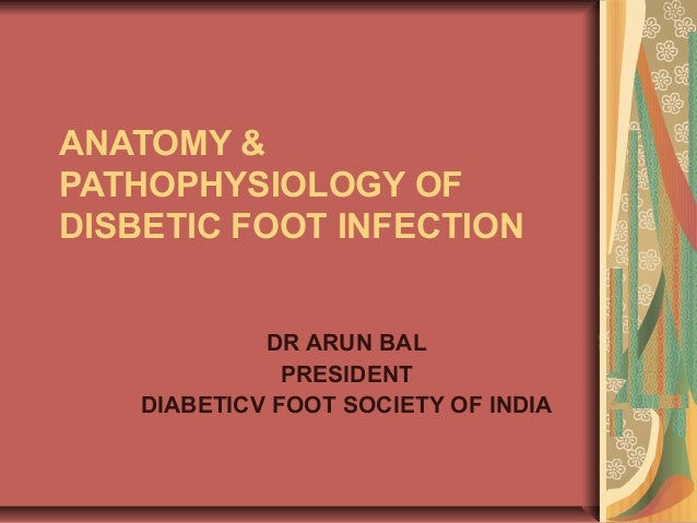 ANATOMY & PATHOPHYSIOLOGY OF DISBETIC FOOT INFECTION DR ARUN BAL PRESIDENT DIABETICV FOOT SOCIETY OF INDIA