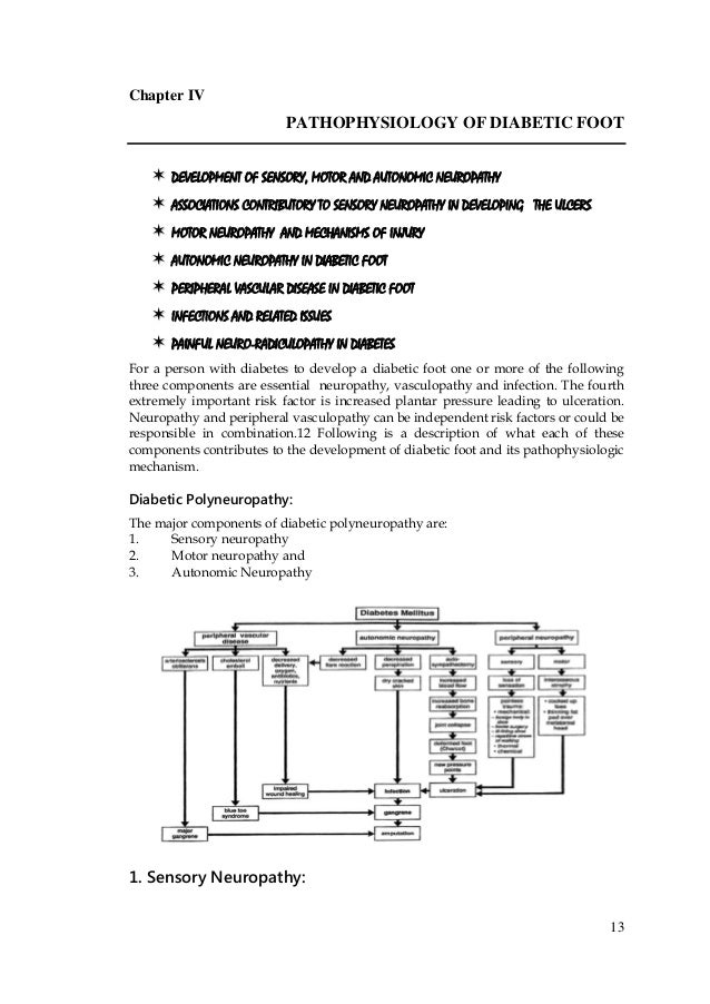 13 Chapter IV PATHOPHYSIOLOGY OF DIABETIC FOOT  DEVELOPMENT OF SENSORY, MOTOR AND AUTONOMIC NEUROPATHY  ASSOCIATIONS C...