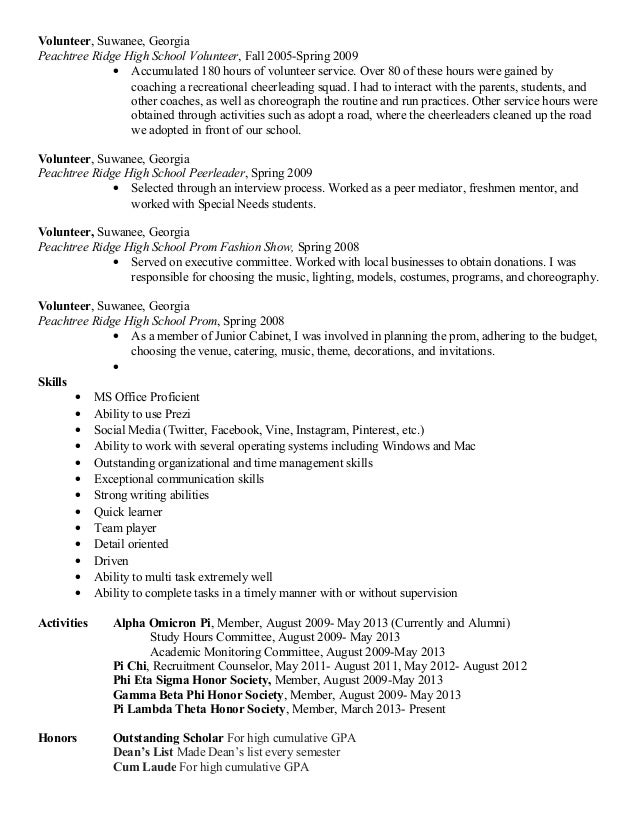 Resume 2015 – Volunteer Resume