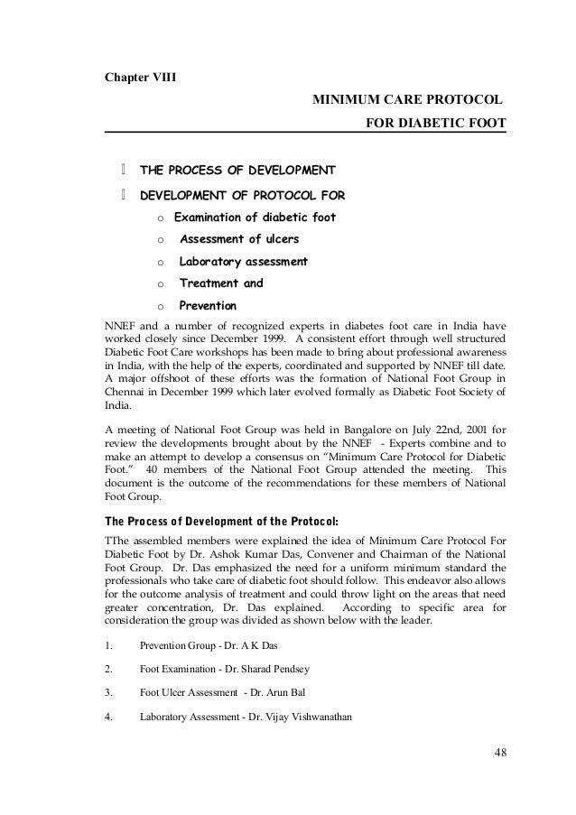 Chapter VIII MINIMUM CARE PROTOCOL FOR DIABETIC FOOT  THE PROCESS OF DEVELOPMENT  DEVELOPMENT OF PROTOCOL FOR o Examin...