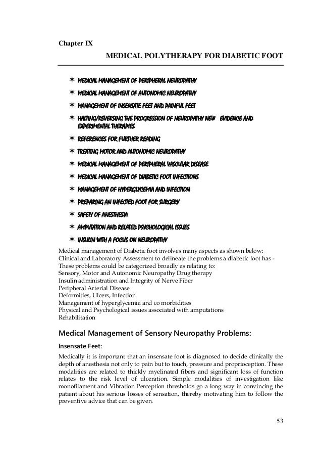 53 Chapter IX MEDICAL POLYTHERAPY FOR DIABETIC FOOT  MEDICAL MANAGEMENT OF PERIPHERAL NEUROPATHY  MEDICAL MANAGEMENT O...
