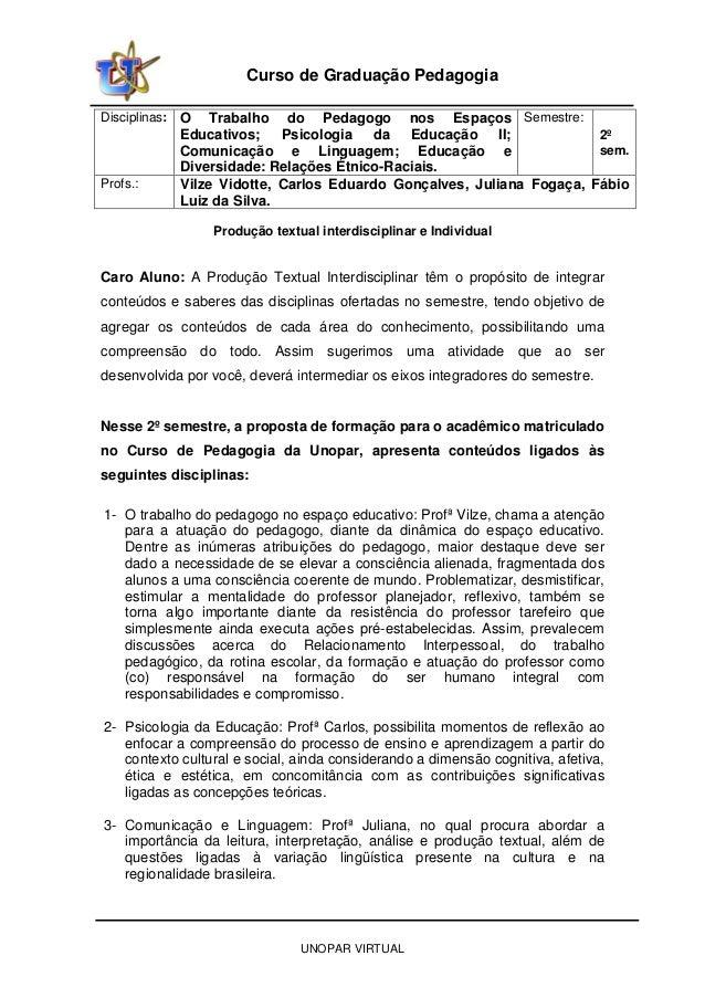 UNOPAR VIRTUAL Curso de Graduação Pedagogia Disciplinas: O Trabalho do Pedagogo nos Espaços Educativos; Psicologia da Educ...