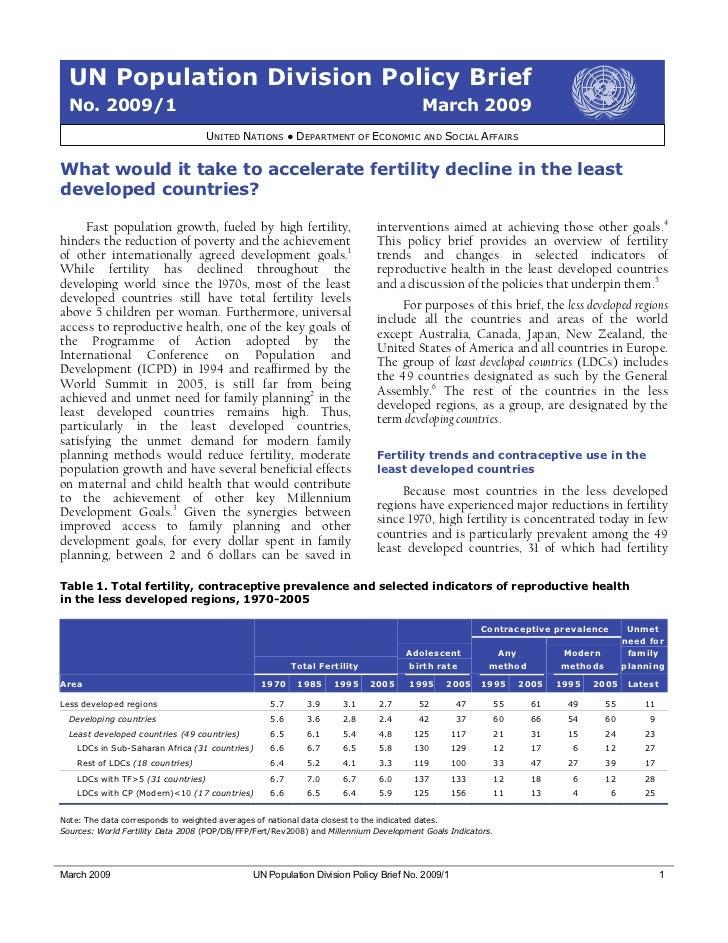 UN Population Division Policy Brief  No. 2009/1                                                                           ...