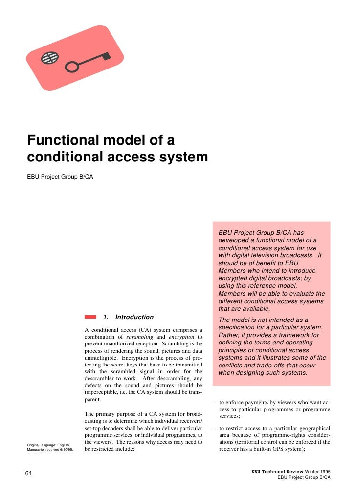 Functional model of aconditional access systemEBU Project Group B/CA                                                      ...